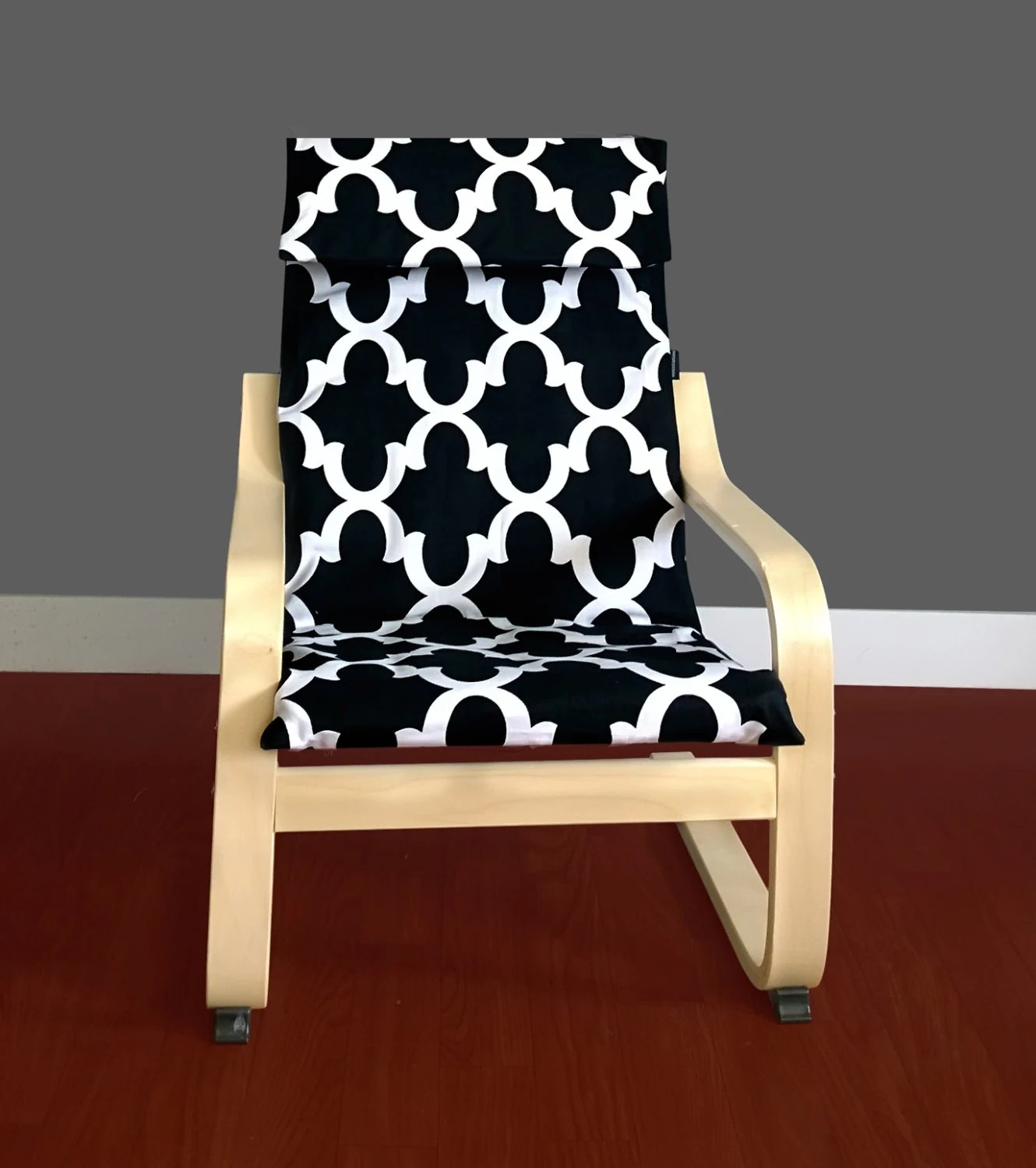 poang chair covers etsy fishing low black white ikea kids poÄng cushion cover