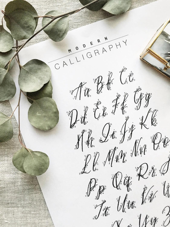 Modern Calligraphy Printable Practice Worksheet For Beginners