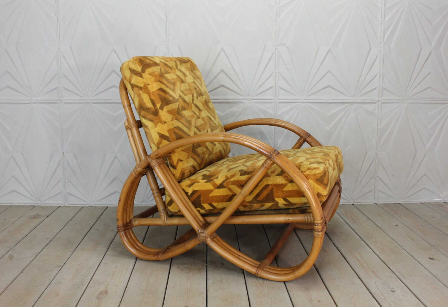 Pretzel Chair Rattan Pretzel Arm Retro 3 Strand Original Retro Fabric