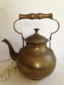 Antique Solid Brass Teapot Kettle Rustic Kitchen Cottage