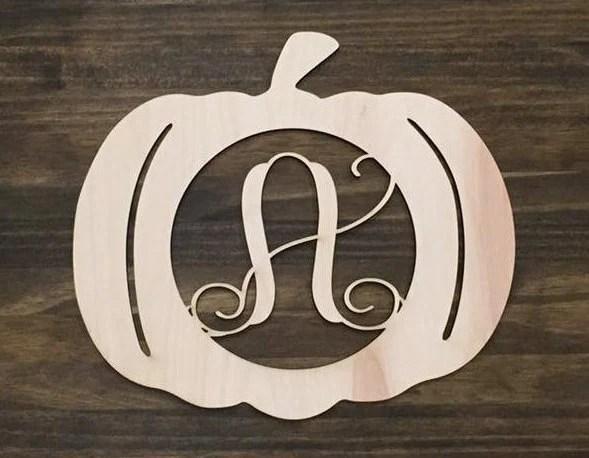 24 Wood Pumpkin Monogram Laser Cutout Shape Halloween Fall