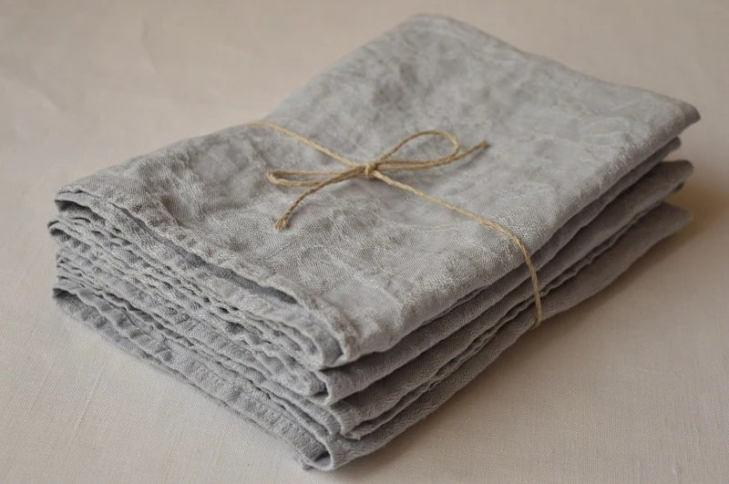 SET 4 Jacquard LINEN Dinner Napkins Dusty Blue Linen by