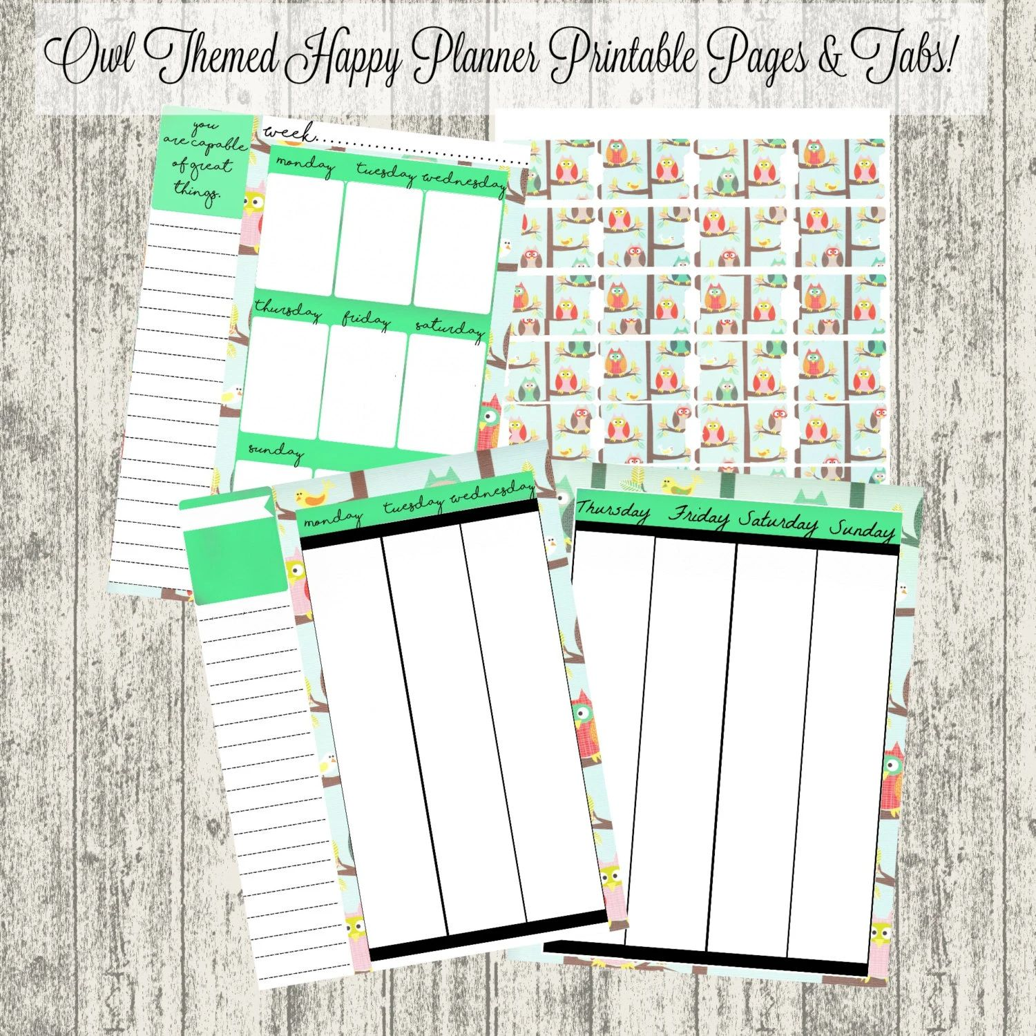 weekly planner pages printable
