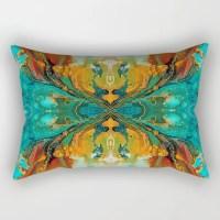 Lumbar Pillow Rectangular Pillow Turquoise Pillow Teal and