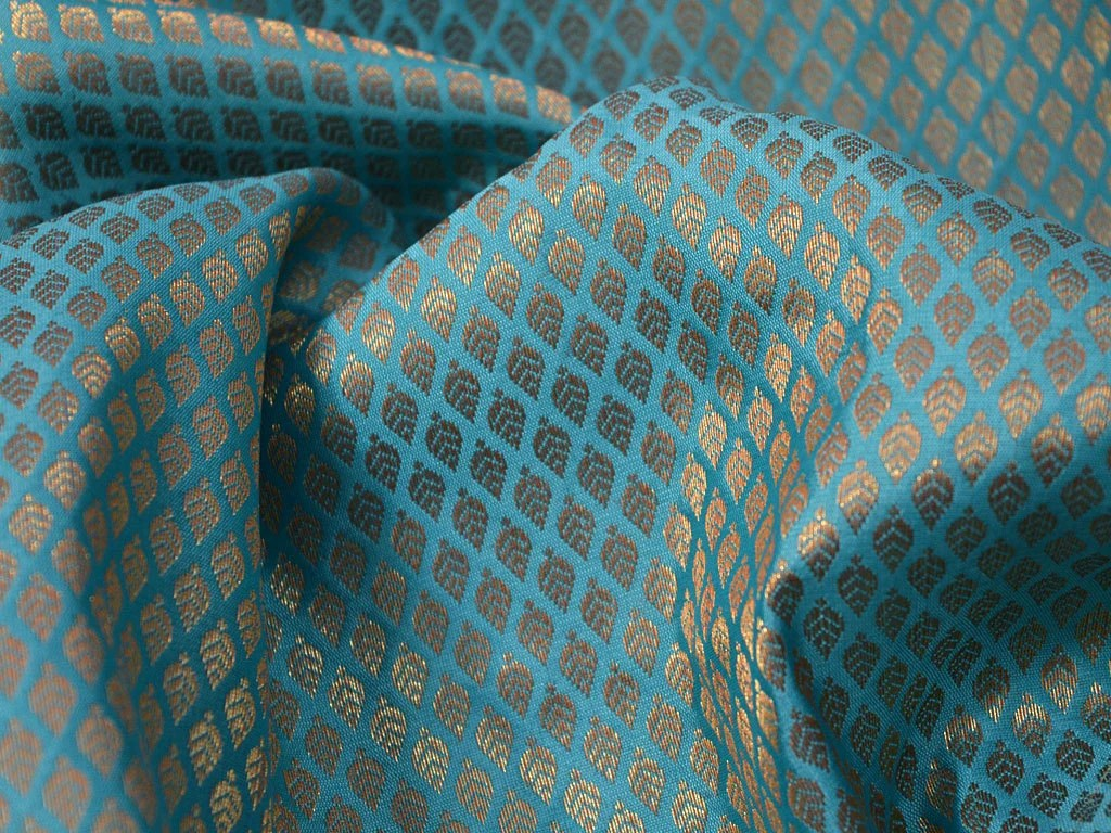 Turquoise Brocade Fabric by the yard Art Silk Brocade from