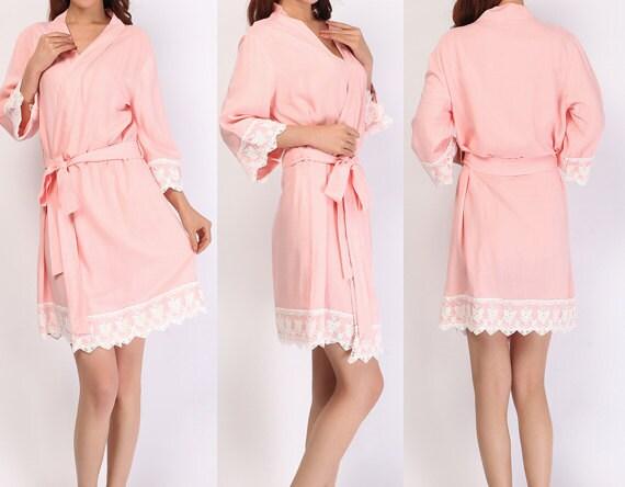 light pink bridesmaid robe cotton robes kimono robes by SOFTAMOR