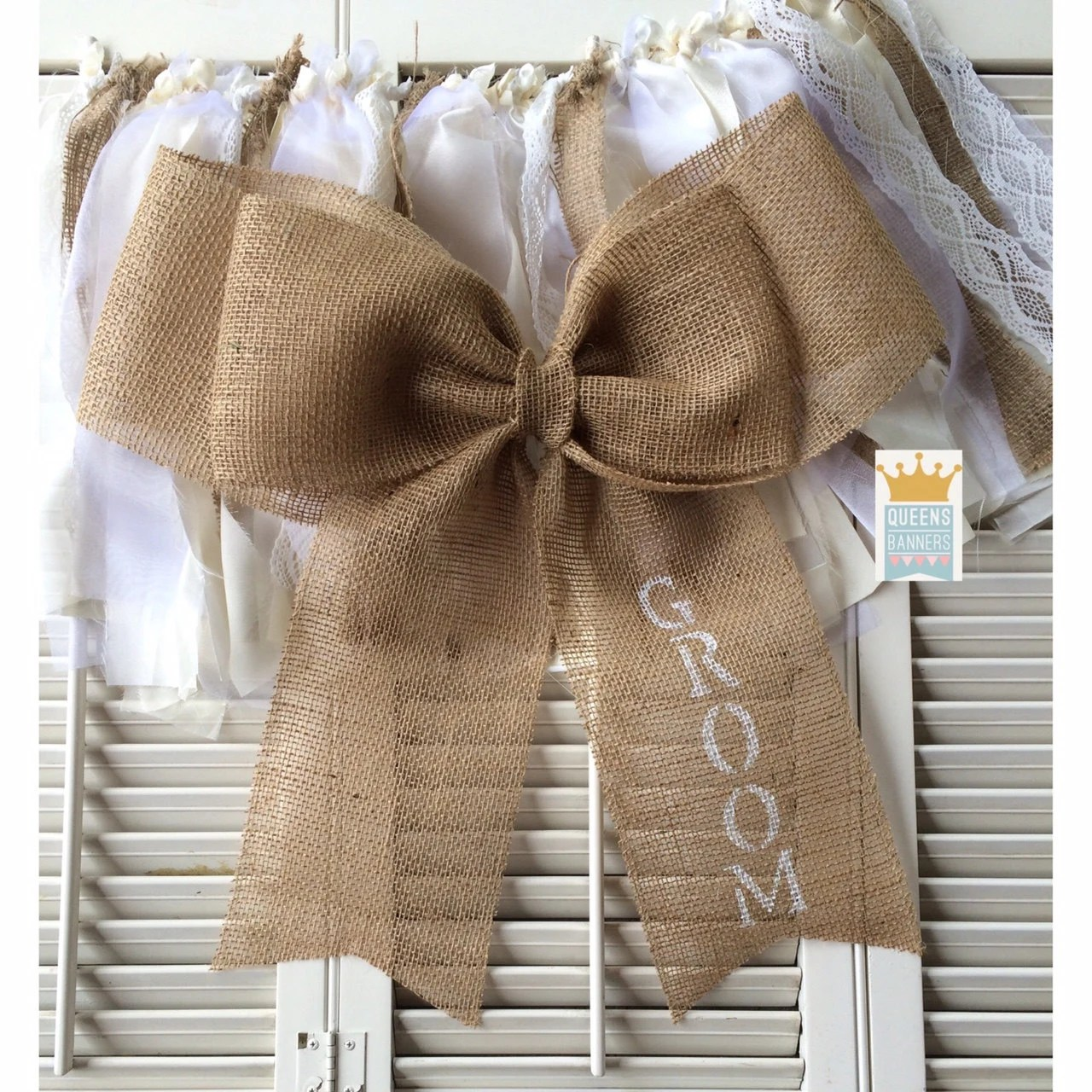 burlap bows for wedding chairs deschutes red chair bow or pew reception decor
