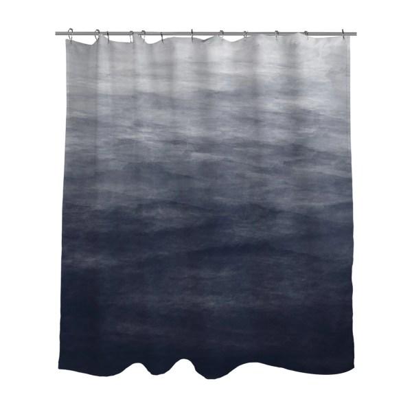 Navy Blue Grey Ombre Watercolor Shower Curtain Bath