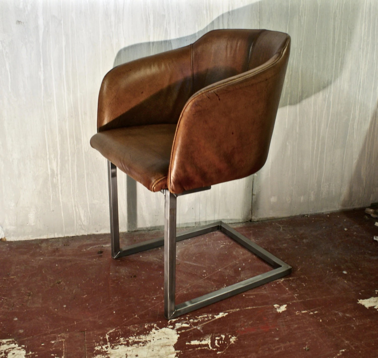metal tub chair office replacement parts leather with a brushed steel frame