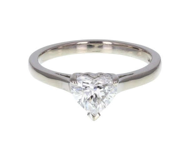 1 Carat Heart Shaped Diamond Solitaire Ring In 18ct White Gold