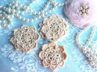 Beige Crochet Flowers/Shabby Chic Flowers/Scrapbook