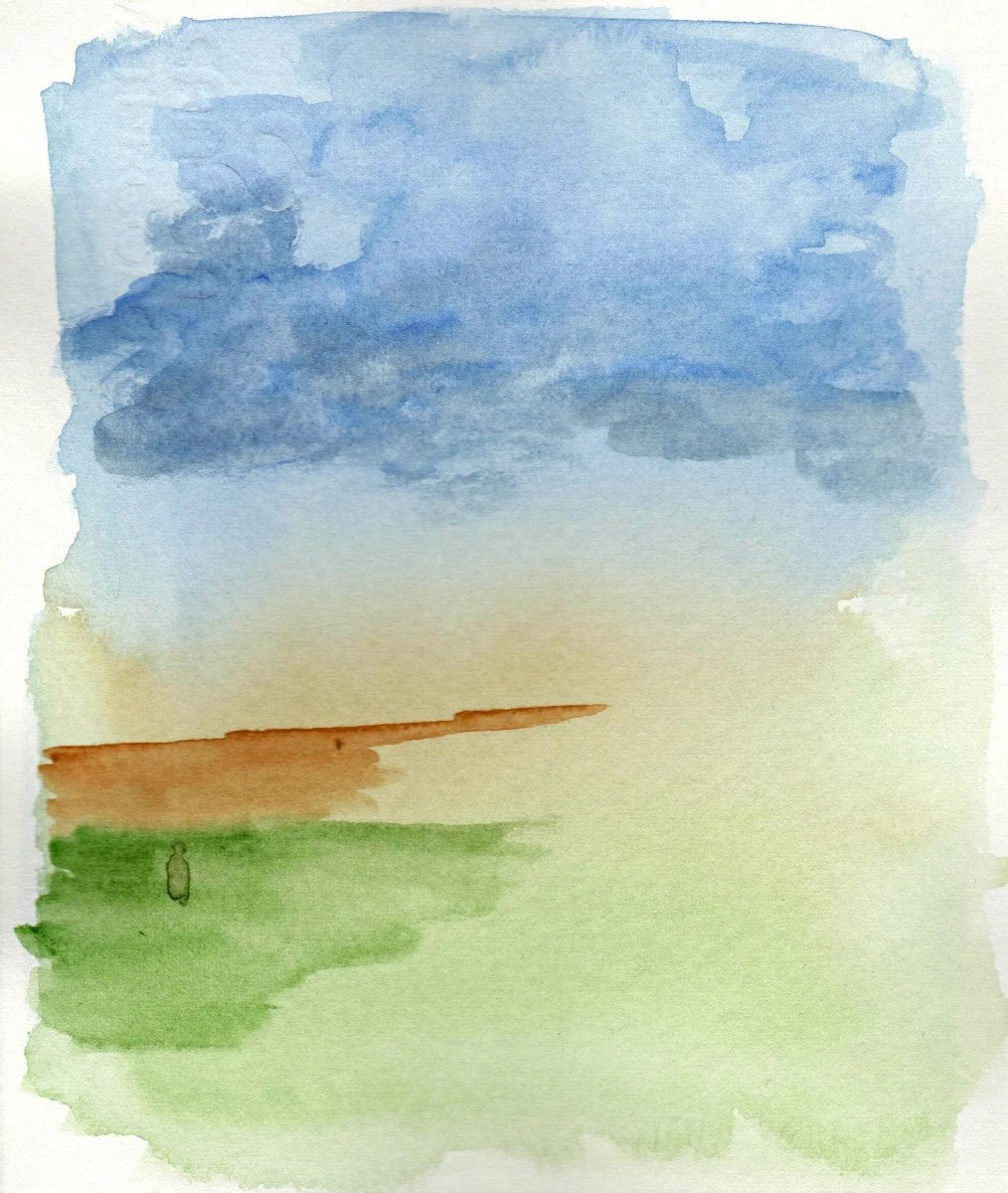 Pittura ad acquerello di un paesaggio astratto naturale con un