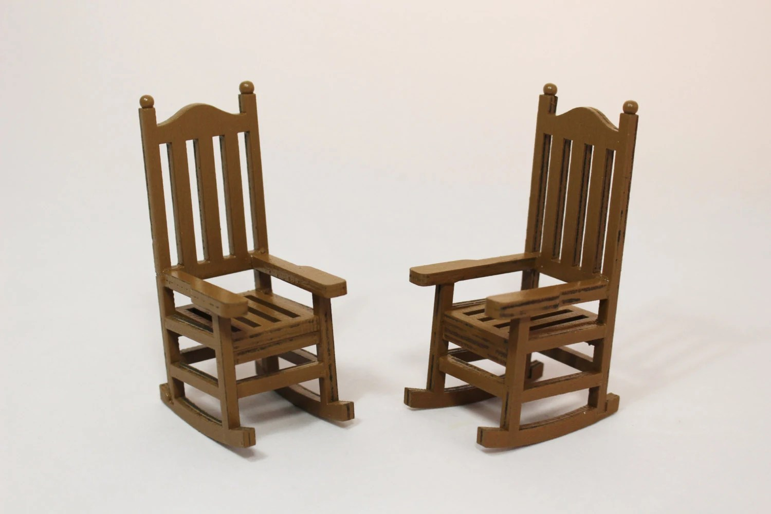 Miniature Chairs 1 Miniature Wooden Rocking Chair Dollhouse Miniatures Fairy