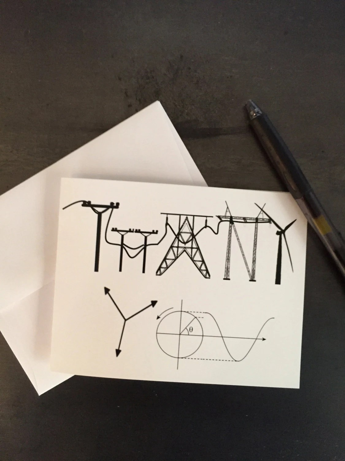 Power Themed Thank You Card Engineering Industrial