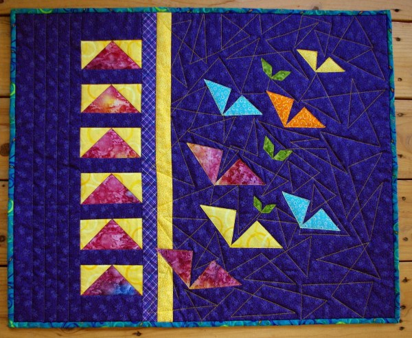 Contemporary Art Quilt Wall Hanging Triangles Flying Geese