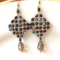 handmade beaded earrings drop dangle earrings black crystal