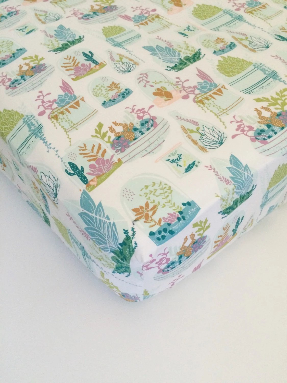 Girls Baby Bedding Succulent Fitted Crib Sheets  Floral
