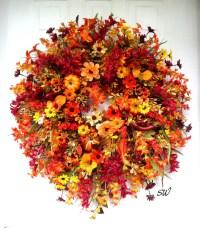 Fall Wreath-Pumpkin Wreath-Wildflower Wreath-Wall/Door