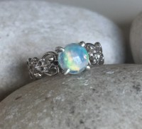 Opal Engagement Filigree Ring Natural Opal Promise Ring