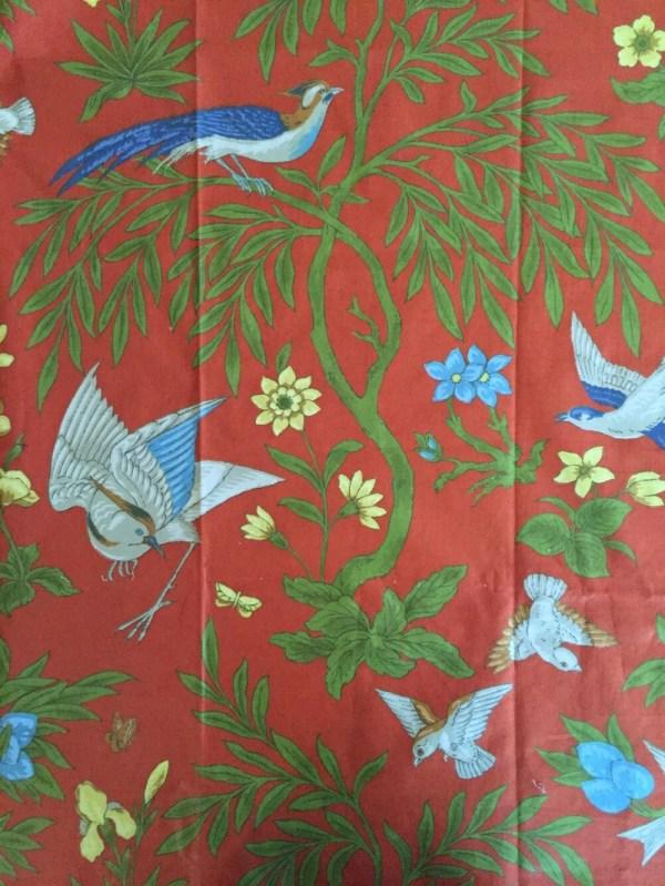 Vintage Decorator Fabric Sample Greeff Birds Rust Blue Green Yellow Sewing Craft
