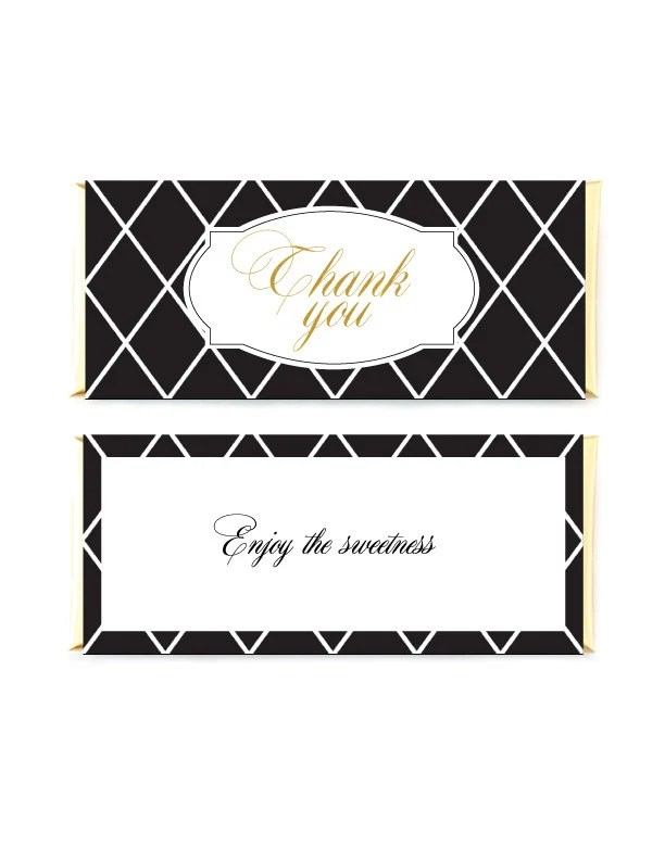 Black And Gold Candy Bar Wrappers Black Plaid Wrappers