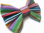 striped big hair bow colourful
