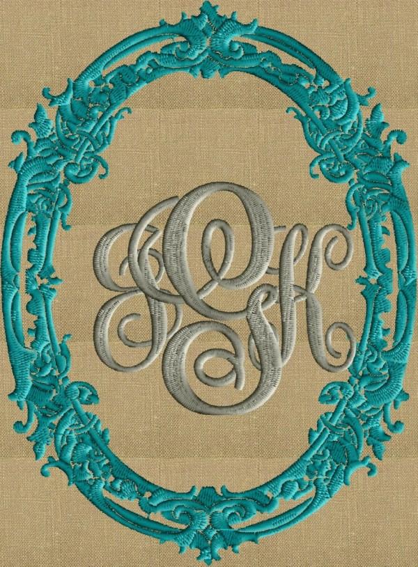 Baroque Scroll Font Frame Monogram Embroidery Design Font not