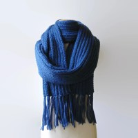 Blue Wool Long Scarf Womens Scarves Mens Winter Chunky Knit