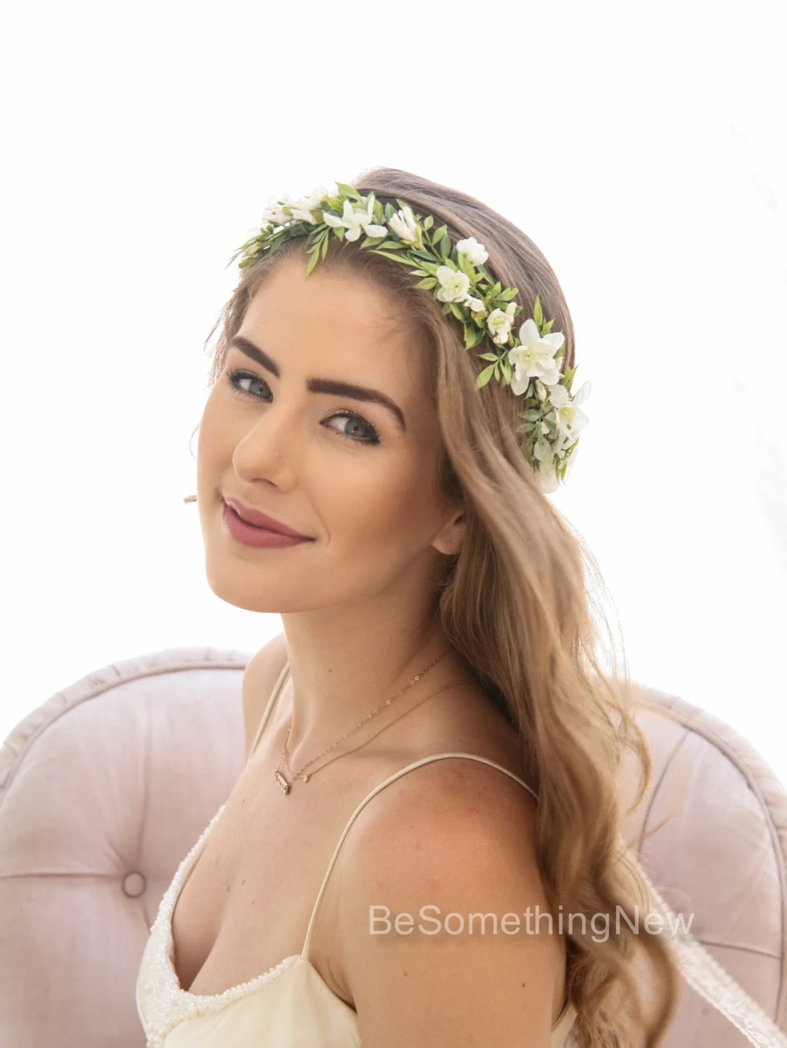 Green Leaf Rustic Floral Crown With Ivory Flowers Woodland