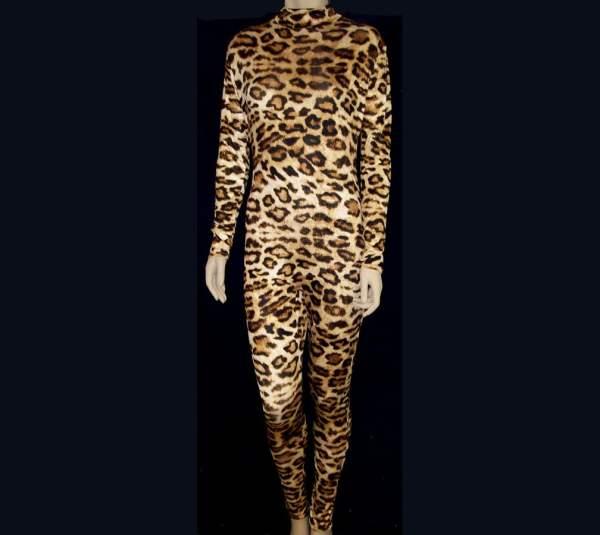 Leopard Print Soft Silky Stretch Spandex Unitard Catsuit