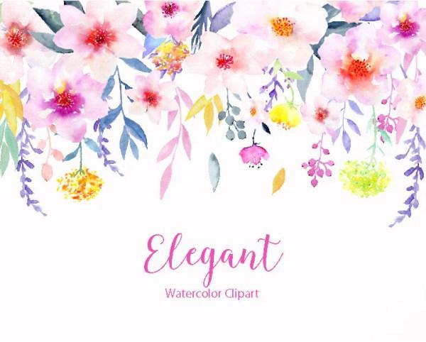 watercolor clipart elegant pink
