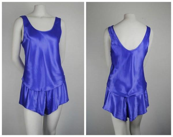 80' Bright Purple Tank Top & Shorts Lingerie Set Lucie