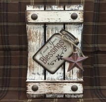 Sign Mason Jar Blessings Count Reclaimed Pallet Wood