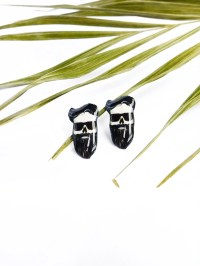 Hipster skull studs / Hipster earrings / Beard earrings