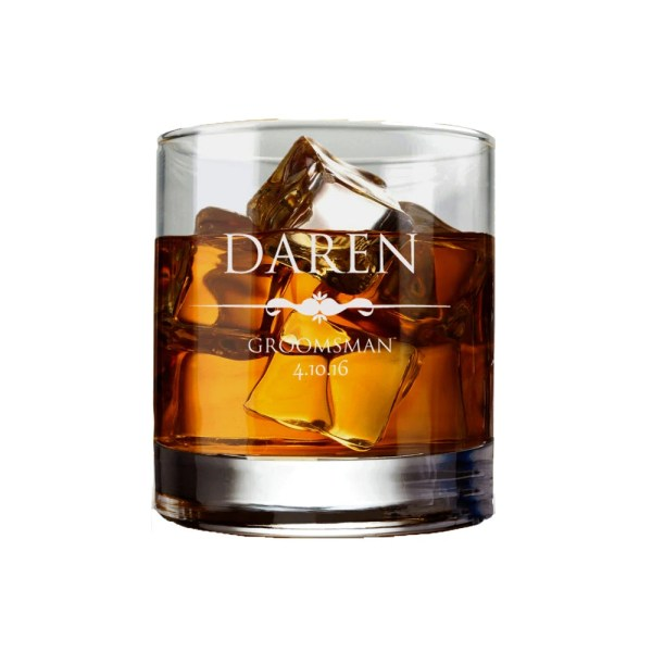 Personalized Etched Whiskey Glasses