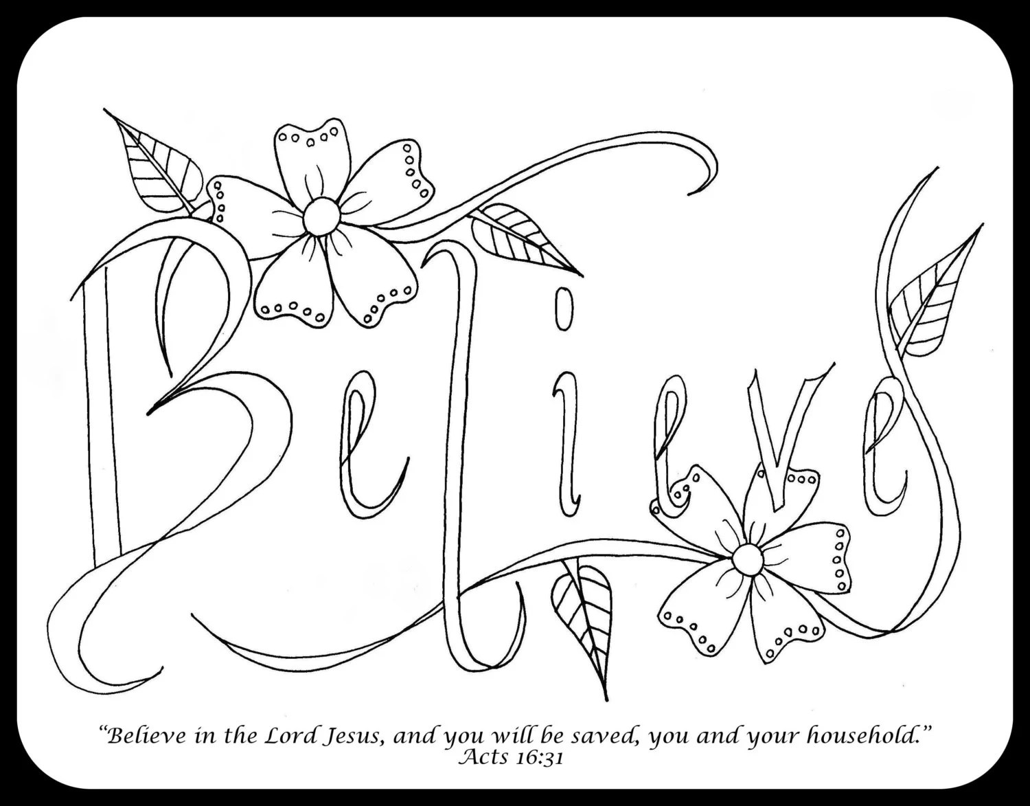 Bible Journaling Coloring Pages 4 pages Set by