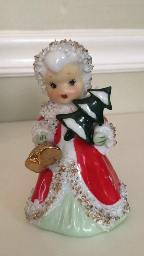 Lefton Vintange Angel Bell Holiday Girl With Tree