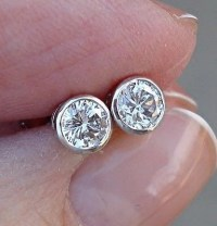0.50 Half Carat Bezel Set Diamond Stud Solitaire Screwback