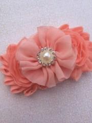 peach hair bow coral clips