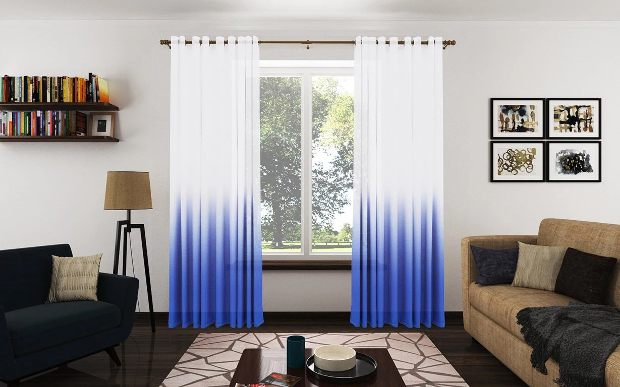Items Similar To Modern Royal Blue Ombre Sheer Drapery