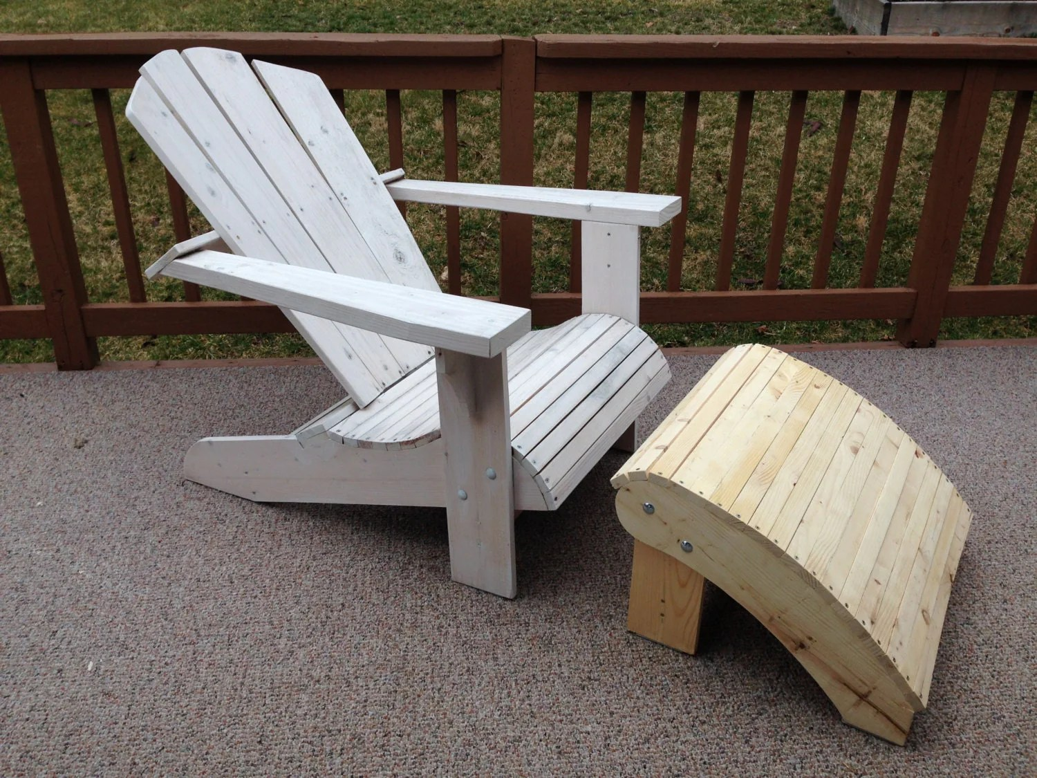 adirondack chair with ottoman plans child size bean bag pattern outdoor furniture