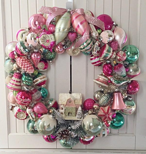 SAMPLE Large Pink Green Vintage Christmas Ornament Wreath