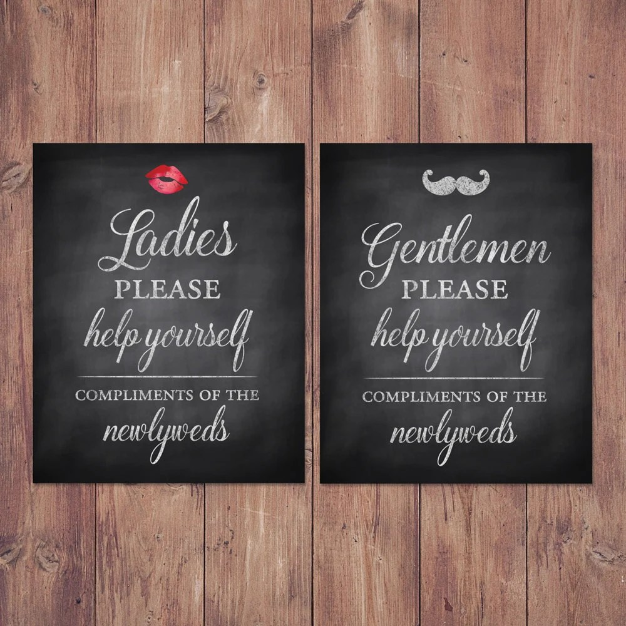 Wedding bathroom basket signs womens and mens hospitality