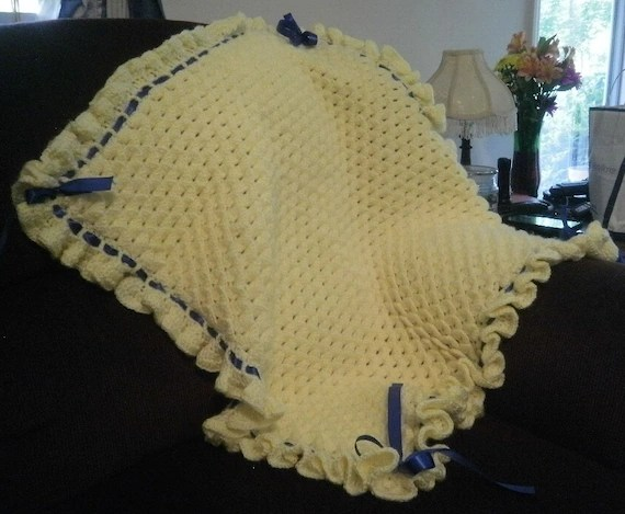 Baby Blanket Crocheted Yellow Crocodile Stitch