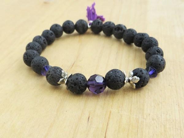 Beaded Bracelet Purple Crystal Lava Bead