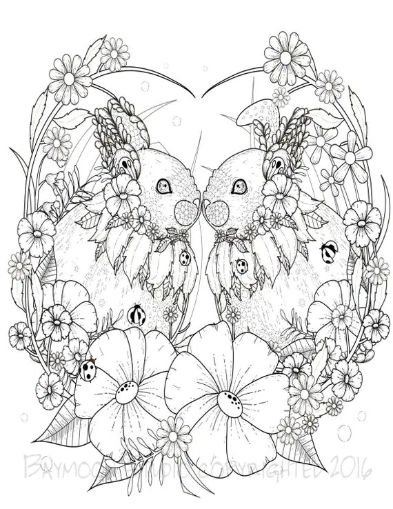 Kissing Bunnies Coloring Page Printable Coloring by