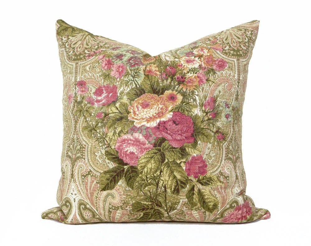 Country Pillow Covers Pink Green Pillow Cottage Chic Pillow