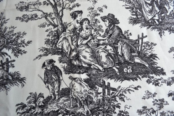 Vintage Fabric Waverly Country Life Toile In Black And White