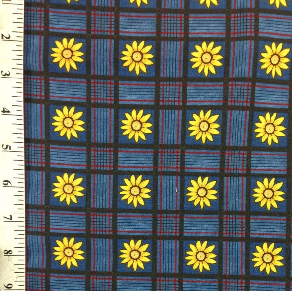 Yellow Daisies Navy Blue Plaid Fabric Yard 100