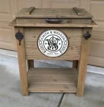 Rustic Wooden Cooler Great Man Cave Outdoor Bar Cart